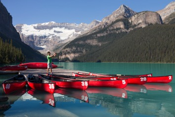 kayaks on lake louise