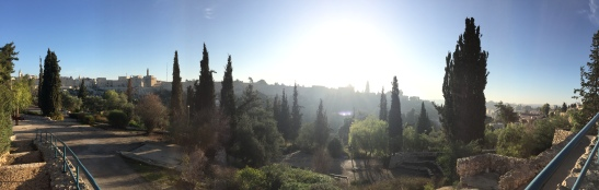 Sun rising over the Old City Jerusalem